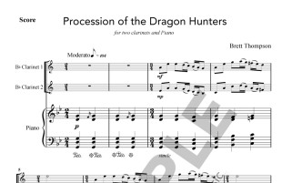 Thompson - Procession of the Dragon Hunters - 2 cl and pf - sample page